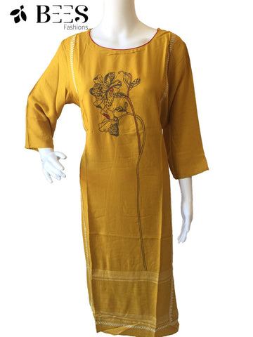 Canary Yellow Cotton Kurti