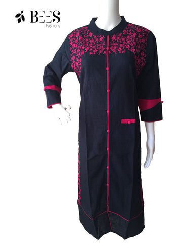 Navy Blue and Pink Cotton Kurti