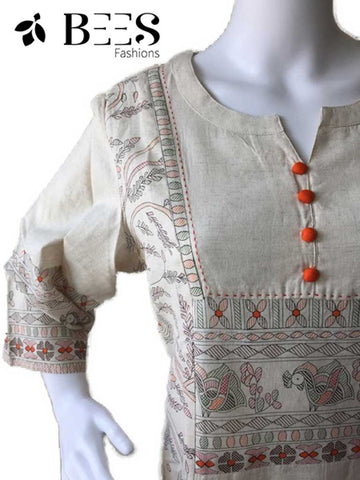 Off White Soft Linen Kurti