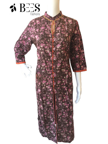 Brown and Bubblegum Pink Cotton Kurti