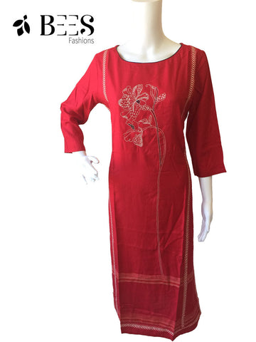 Crimson Red Cotton Kurti