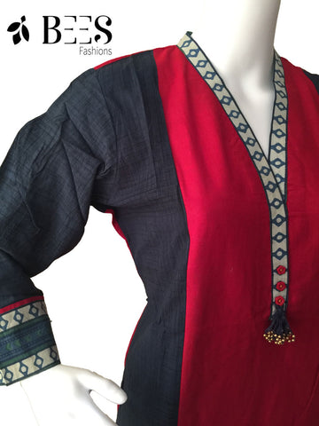 Red and  Blue Cotton Kurti