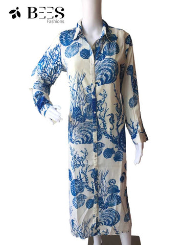 Blue and Cream Lycra Kurti