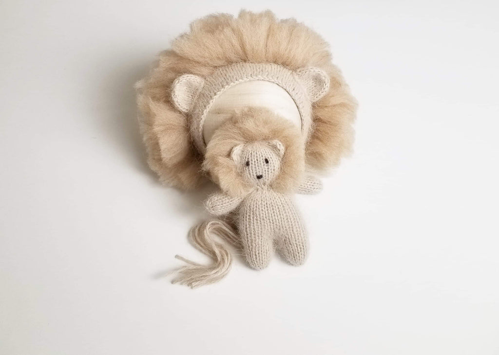 |preorder| Newborn Luxe Angora LION Bonnet + Lion Lovie