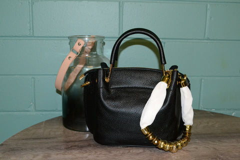 Lucy Black Vegan Pebbled Leather Soft Handle Bag