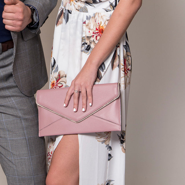 CASTLECRAG - Light Pink Genuine Leather Clutch with Zipper Detailing - Belt N Bags