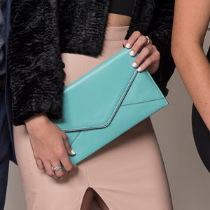 CASTLECRAG Genuine Pebbled Leather Light Blue Clutch  - Belt N Bags
