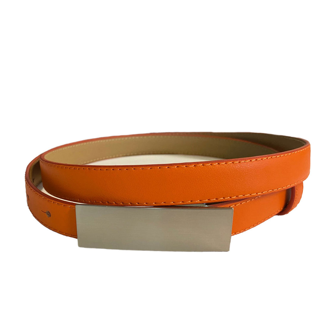 CORA - Womens Orange Genuine Leather Belt with Silver Buckle  - Belt N Bags