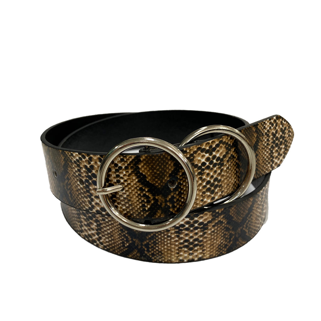 TOWNSVILLE - Womens Snake Skin Double Ring Vegan Leather Belt
