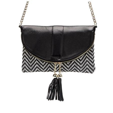 CHISWICK - Addison Road Black & White Weave Crossbody Bag - Belt N Bags