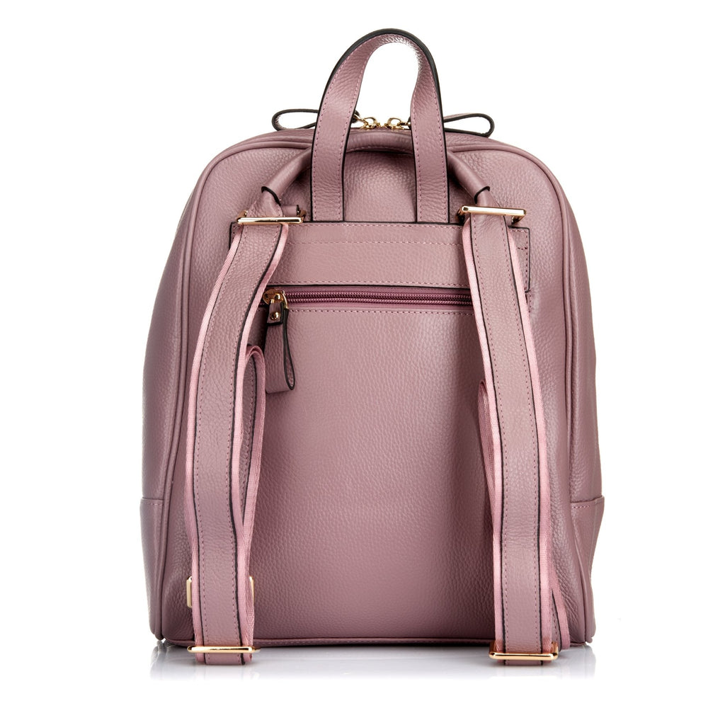 Kingscliff - Lilac Embroidered Leather Backpack Convertible Handbag - BeltNBags