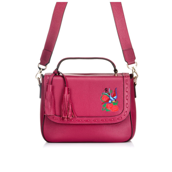 YAMBA- Addison Road Embroidered Magenta Pebbled Leather Structured Bag - BeltNBags