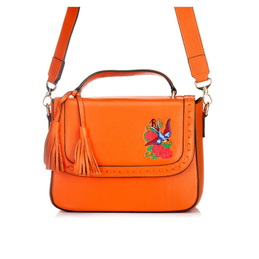 Yamba - Ladies Embroidered Orange Leather Structured Crossbody Bag - BeltNBags