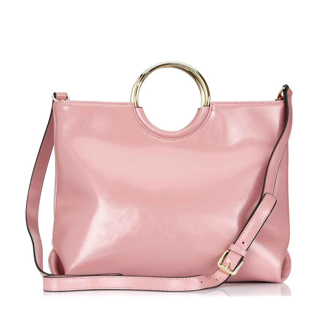 Millfield - Womens Pink Leather Ring Handle Tote Shoulder Crossbody Bag - BeltNBags