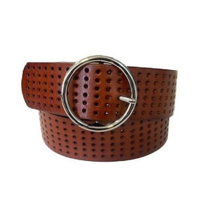 MIRANDA - Dark Tan Genuine Leather Belt  - Belt N Bags