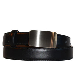 OSCAR - Black Genuine Leather Boys Belt with Shield Buckle  - Belt N Bags