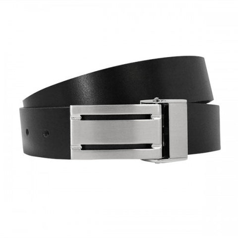 JERSY - Mens Bonded Leather Belt in Black and Charcoal