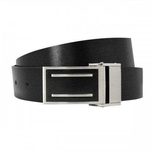 MIAMI - Mens Black and Charcoal Bonded Leather Belt - BeltNBags