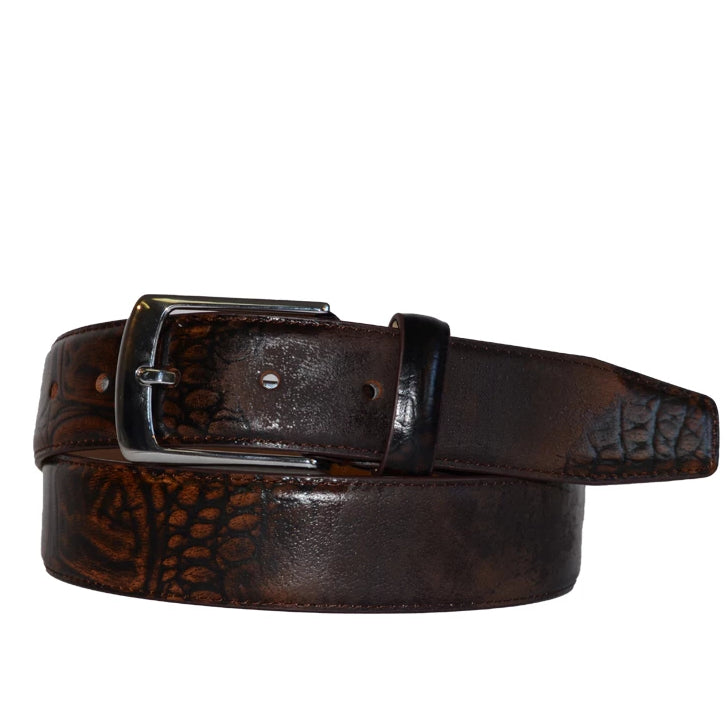 ADAMS - Mens Crocodile Texture Leather Belt