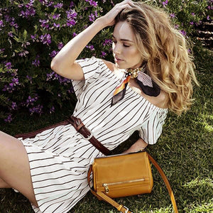 HUNTERS HILL-  Mustard Genuine Leather Bag  - Belt N Bags