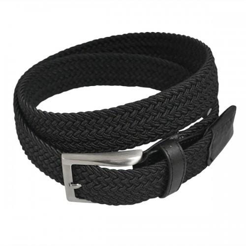 ALEC - Mens Woven Black Elastic Stretch Belt with Silver Buckle - Belt N Bags