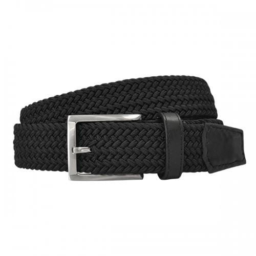 ALEC - Mens Cotton Woven Black Elastic Stretch Belt with Silver Buckle  - Belt N Bags