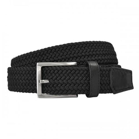 ALEC - Mens Woven Black Elastic Stretch Belt