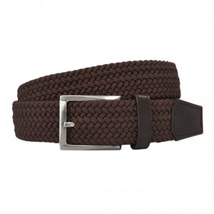ALEC - Mens Woven Brown Elastic Stretch Belt-Mens Belt-Mr Selby-BeltNBags