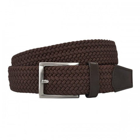 ALEC - Mens Woven Brown Elastic Stretch Belt