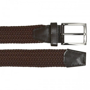 ALEC - Mens Woven Brown Elastic Stretch Belt with Silver Buckle  - Belt N Bags