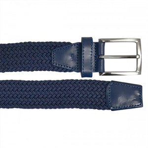 ALEC - Mens Woven Blue Navy Elastic Stretch Belt with Silver Buckle  - Belt N Bags