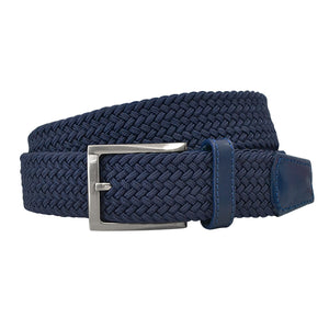ALEC - Mens Navy and Black Woven Elastic Stretch Belt Gift Pack