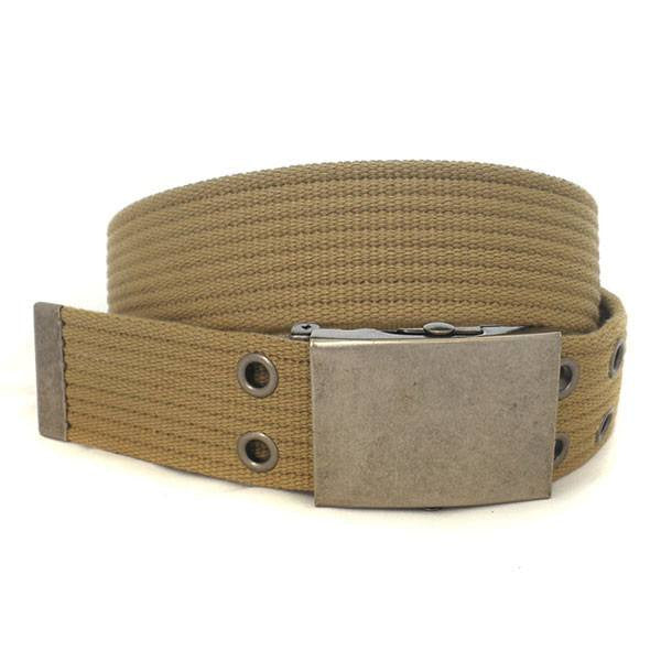 ALONSO - Light Brown Canvas Webbing Belt - BeltNBags