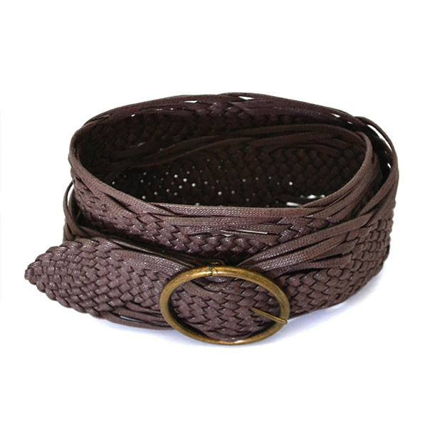 ANNALISE - Womens Choc Plaited Belt  - Belt N Bags