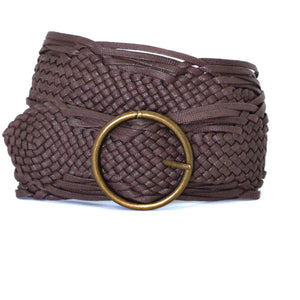 ANNALISE - Womens Choc Plaited Belt-Womens Belt-BeltNBags-BeltNBags