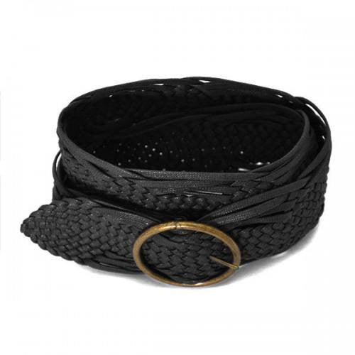 ANNALISE - Womens Black Plaited Belt - Belt N Bags
