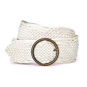 ANNALISE - Womens Cream Plaited Belt-Womens Belt-BeltNBags-BeltNBags