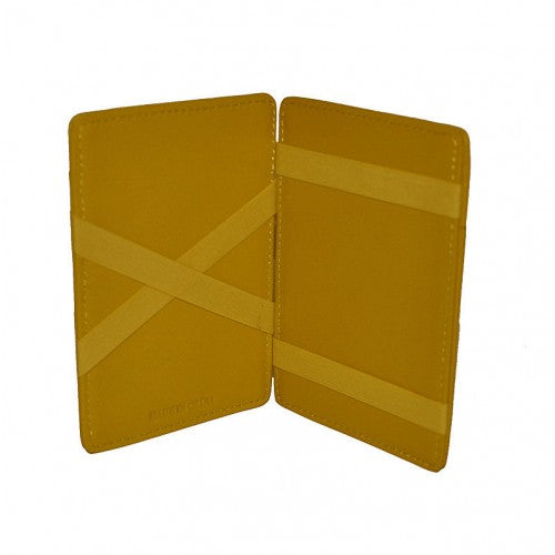 ADALSON - Mens Yellow Light Flip Leather Magic Wallet in Gift Box - BeltNBags