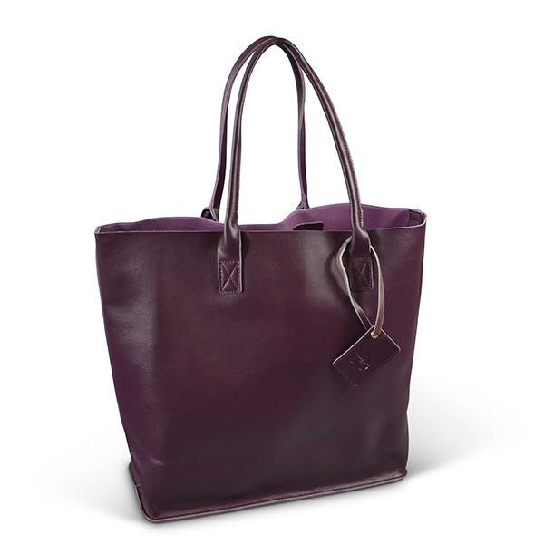 BIRCHGROVE - Womens Grape Genuine Leather Tote  - Belt N Bags