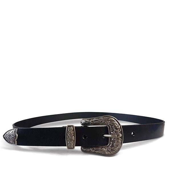 CAMDEN - Addison Road Lux Leather Black Western Belt with Floral Embossed Metal - Belt N Bags