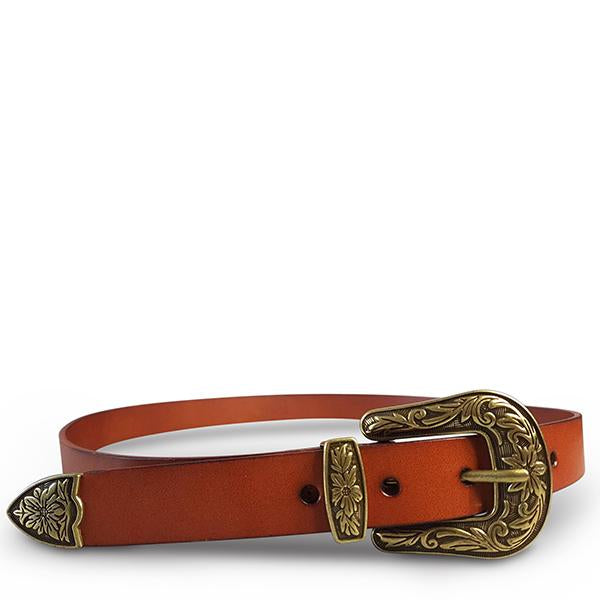 CAMDEN -  Lux Leather Brown Western Belt with Gold Floral Embossed Metal  - Belt N Bags