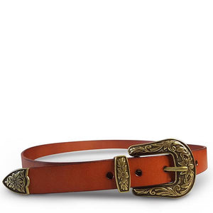 CAMDEN - Addison Road Lux Leather Brown Western Belt with Floral Embossed Metal - BeltNBags
