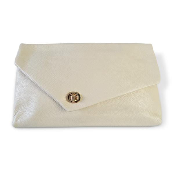 Centennial Park - Cream Pebbled Leather Clutch - Belt N Bags