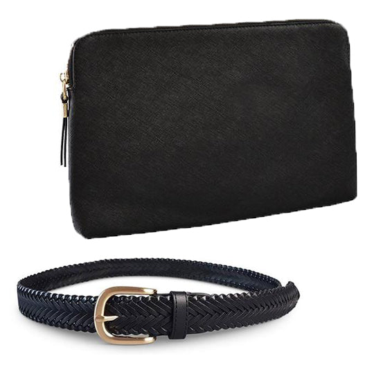 COMBO PACK- Structured Saffiano Leather Clutch and Plaited Leather Belt - Belt N Bags