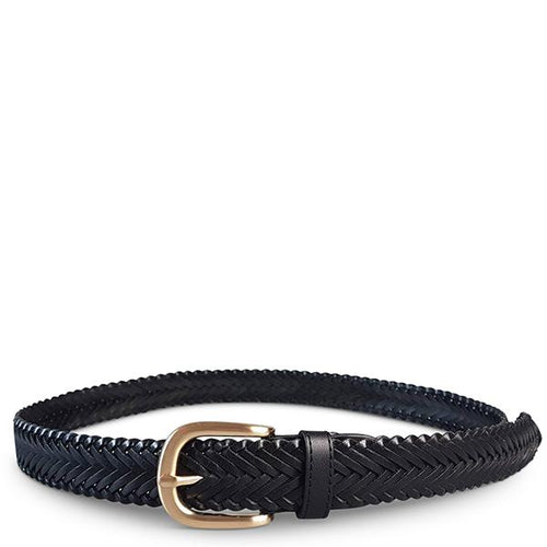 ERSKINVILLE- Addison Road Black Plaited Leather Belt with Gold Buckle - BeltNBags