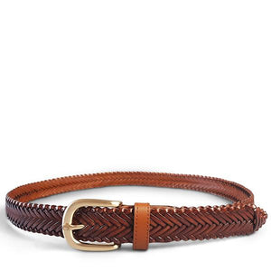 ERSKINVILLE- Addison Road Tan Plaited Leather Belt with Gold Buckle - BeltNBags