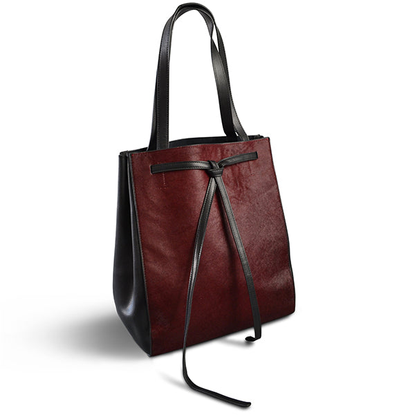TOORAK - Wine Red Leather Hero Cowhide Tote Bag  - Belt N Bags