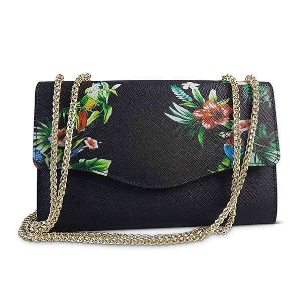 IVANHOE - Addison Road Black Leather Clutch Bag with Tropical Print - Belt N Bags
