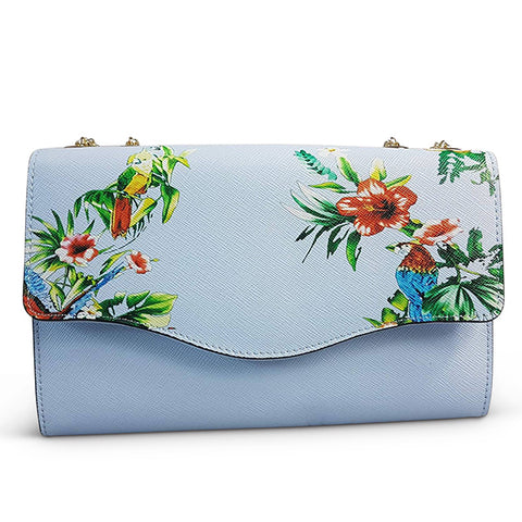 IVANHOE - Blue Leather Clutch Bag with Tropical Print