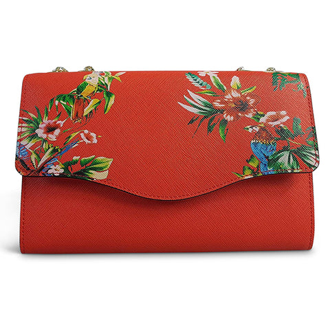 IVANHOE - Red Leather Clutch Bag with Tropical Print